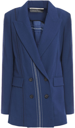 Roland Mouret Cutout Embroidered Wool-crepe Blazer