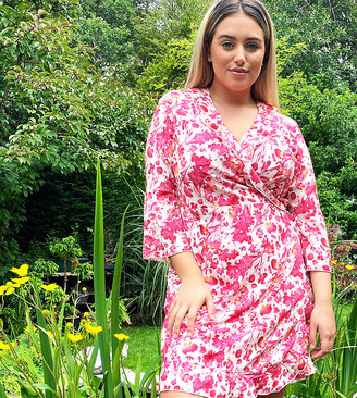 Outrageous Fortune Plus ruffle wrap dress with fluted sleeve in pink floral print