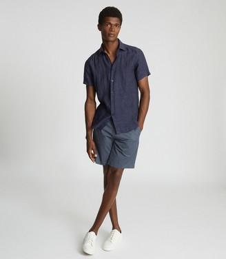 Reiss HOLIDAY Linen slim fit shirt Navy