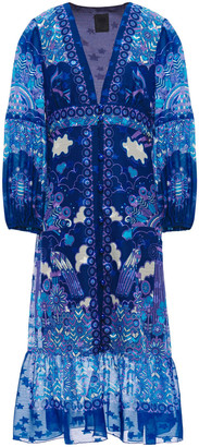 Anna Sui Ruched Printed Silk-chiffon Midi Wrap Dress