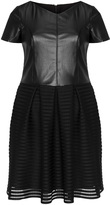 Apart Plus Size A-line faux leather mesh dress