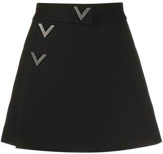 Valentino crystal-embellished V buttons skorts