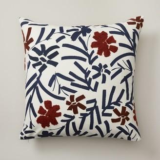 "Oui Brushstroke Floral Pillow Cover Indigo Blue 18"" X 18"""