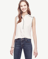 Ann Taylor Petite Piped Sleeveless Blouse