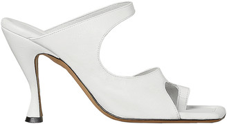 Bottega Veneta Leather Cutout Sandals in Optic White | FWRD
