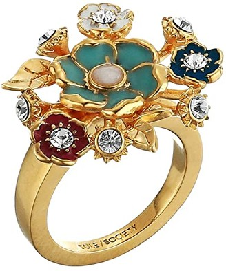 Sole Society SOLE / SOCIETY Bouquet Ring (12K Soft Polish Gold/Ivory/Crystal/Multicolor) Ring