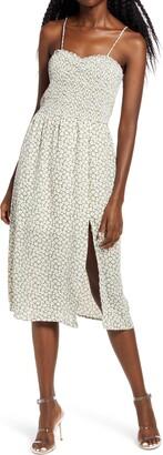 Rowa Sleeveless Smocked Midi Dress
