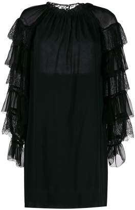 Alberta Ferretti embroidered frilled sleeves dress