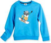 Karl Lagerfeld Snowboard Cat Crewneck Sweatshirt, Blue, Size 6-10