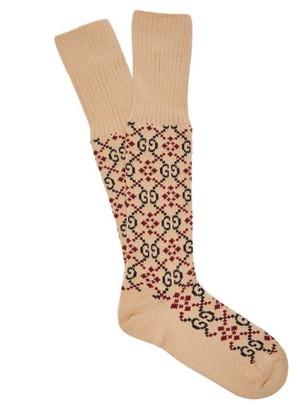 Gucci Gg Logo Intarsia Socks - Mens - Beige