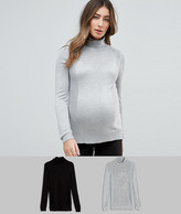 Asos Sweater With Roll Neck And Rib Detail 2 Pack