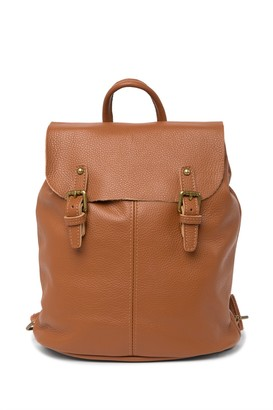 Roberta M Buckled Flap Leather Backpack