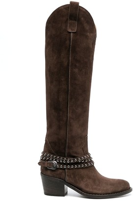 Via Roma 15 Suede Leather Western Boots