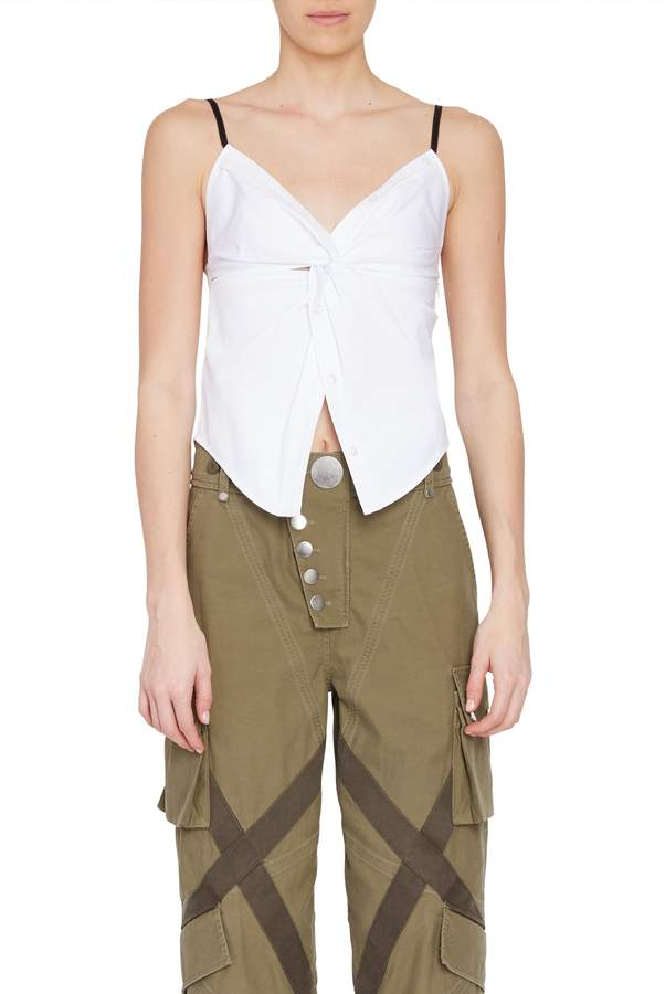 Alexander Wang Twist Front Cami Top in White