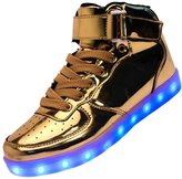 Merveilleux Women's Men's Lightweight Lace Up USB Charging LED Flashing Sneakers Light Up Shoes