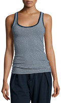 AG Adriano Goldschmied Iso Scoop-Neck Skinny-Striped Tank, Indigo Knit Two