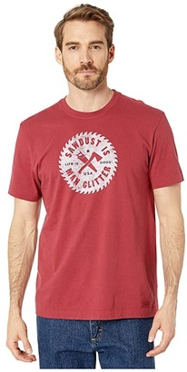 Life is Good Sawdust is The Man Glitter Crushertm Tee (Cranberry Red) Men's T Shirt