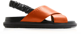 Marni Leather Ruched Slingback Sandals