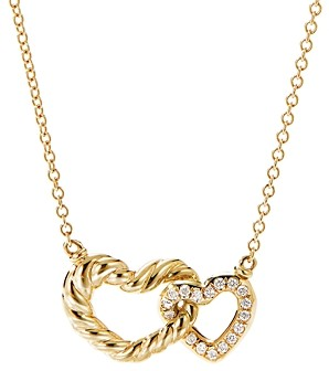 David Yurman Cable Double Heart Pendant Necklace with 18K Yellow Gold with Pave Diamonds, 18