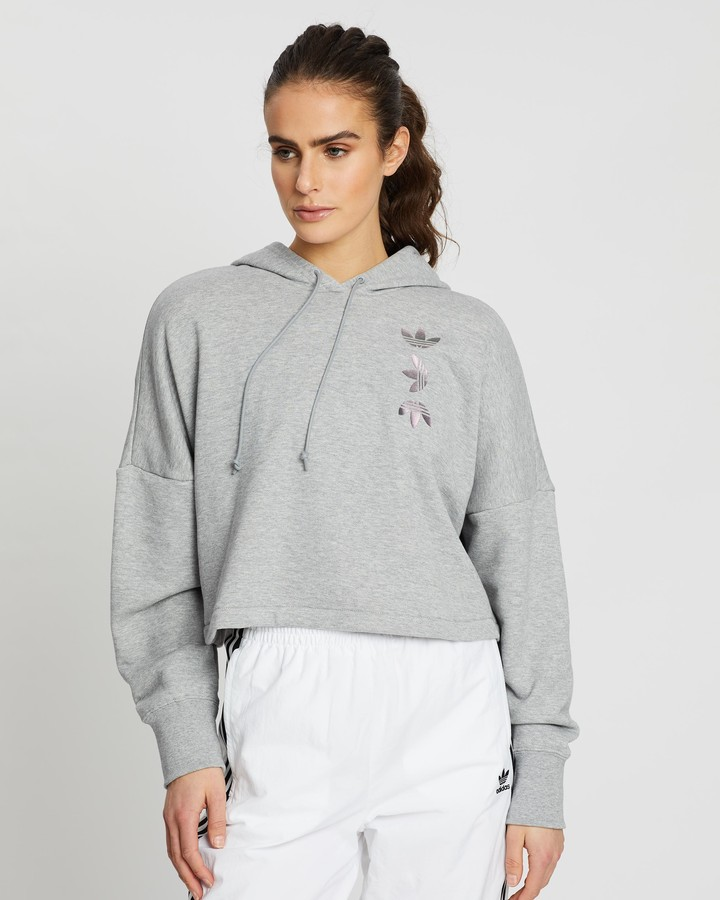 adidas Women's Grey Hoodies - Large Logo Cropped Hoodie - Size 12 at The Iconic