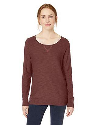 Daily Ritual Women's Lightweight Open-Crewneck Raglan Sweater,S