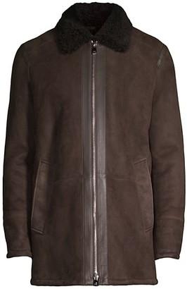 Corneliani Suede Shearling Collar Jacket