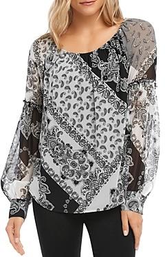 Karen Kane Printed Bishop-Sleeve Top