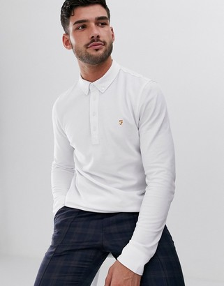Farah Ricky slim fit long sleeve polo in white