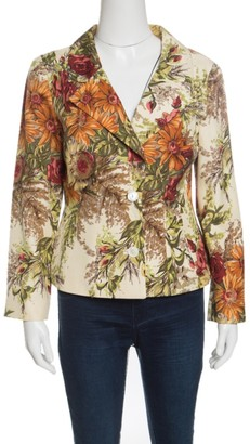 Dolce & Gabbana Cream Floral Printed Silk Knit Blazer M