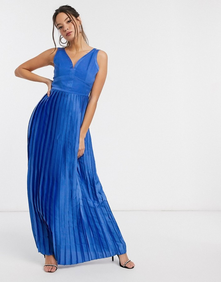 Little Mistress satin maxi dress in blue