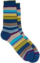 Barneys New York Men's Mixed-Stripe Mid-Calf Socks-BLUE