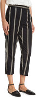 Brunello Cucinelli Two-Tone Paillette-Stripe Cropped Pants, Black