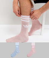 adidas 2 Pack Crew Socks In Pink Bq6022