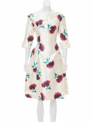 Oscar de la Renta 2016 Floral Printed Dress w/ Tags White