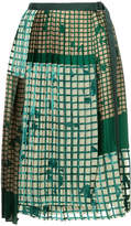 Sacai grid pleated skirt