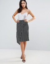 Liquorish Monochrome Striped Wrap Skirt