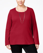 Karen Scott Plus Size Scoop-Neck Top, Only at Macy's