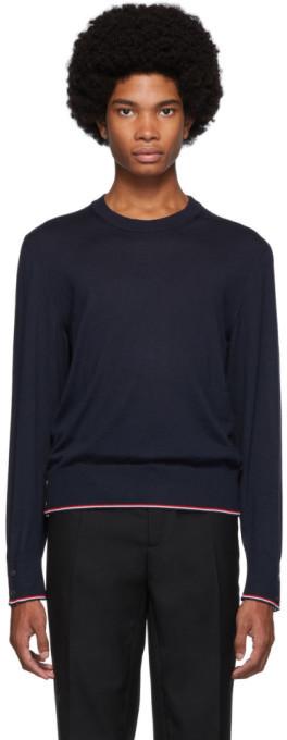 Thom Browne Navy Cashmere Classic Crewneck Sweater