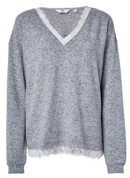 Dorothy Perkins Womens **Tall Grey Brushed Lace Top, Grey