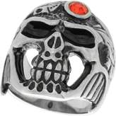 Sabrina Silver Surgical Steel Biker Skull Ring w/ Red CZ Jeweled Helmet, Size 9