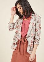 ModCloth Marketing Maven Blazer in Grey Floral in L