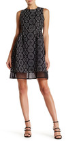 Gracia Contrast Laser Cut Fit & Flare Dress
