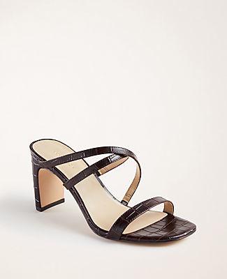 Ann Taylor Emmalyn Embossed Leather Heeled Sandals