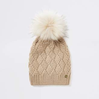 River Island Womens Light Beige faux fur pom pom beanie hat