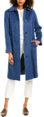 Vince Belted Slim Wool-Blend Coat