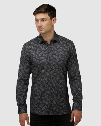 Brooksfield Tonal Leaf Print Satin Business Shirt