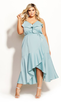 City Chic Ruffle Amore Maxi Dress - seafoam