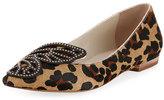 Sophia Webster Bibi Butterfly Calf-Hair Flat, Leopard