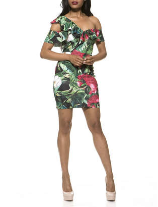 Alexia Admor Jayla Floral Asymmetric Cold-Shoulder Mini Dress