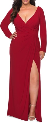 La Femme Long Sleeve Faux Wrap Gown